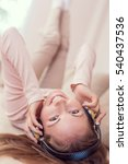 young attractive woman lying on ... | Shutterstock . vector #540437536