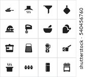 set of 16 editable meal icons.... | Shutterstock .eps vector #540456760