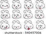 cartoon rabbit face emotions set | Shutterstock .eps vector #540457006