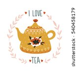 Hand Drawn Card With Teapot An...