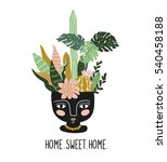 hand drawn tropical house... | Shutterstock .eps vector #540458188
