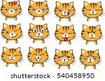 cat face emotions set | Shutterstock .eps vector #540458950