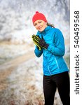 a young woman jogging in the... | Shutterstock . vector #540459568