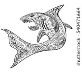 hand drawn shark with ethnic... | Shutterstock . vector #540471664