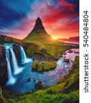kirkjufell volcano the coast of ... | Shutterstock . vector #540484804
