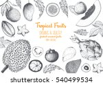 tropical fruits top view frame... | Shutterstock .eps vector #540499534