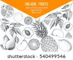 fruits top view frame with pear ... | Shutterstock .eps vector #540499546