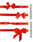 Small photo of Red ribbon bow isolated on white background