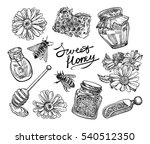 hand drawn honey set. vector... | Shutterstock .eps vector #540512350