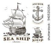 set of vintage sea ships labels | Shutterstock .eps vector #540520204