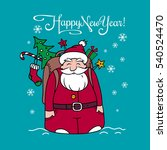 happy new year card with santa... | Shutterstock .eps vector #540524470