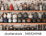 many collection ceramic jugs in