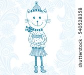 cute cartoon cat. vector... | Shutterstock .eps vector #540528358