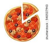 pizza top view. tomato  green... | Shutterstock .eps vector #540537943