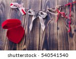 white bow and different ribbons ... | Shutterstock . vector #540541540
