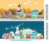 cityscape. the city in winter... | Shutterstock .eps vector #540556558