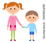 girls and boys  siblings | Shutterstock .eps vector #540581698