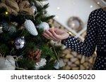 girl holding christmas tree... | Shutterstock . vector #540605020