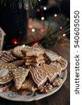 gingerbread cookies decorated... | Shutterstock . vector #540605050