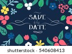 vector flat flowers  leaves and ... | Shutterstock .eps vector #540608413