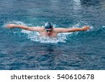 dynamic and swimmer in cap... | Shutterstock . vector #540610678