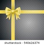 golden yellow bow ribbon knot... | Shutterstock .eps vector #540626374