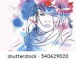arabic woman portrait. | Shutterstock .eps vector #540629020