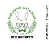 vegetarian restaurant logo with ... | Shutterstock .eps vector #540632344
