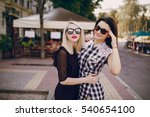 two girls young model walk the... | Shutterstock . vector #540654100