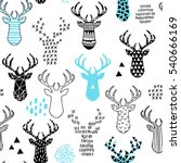 Stock vector cute hand drawn seamless pattern with deer 540666169