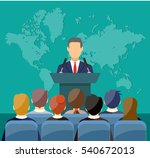 orator speaking from tribune.... | Shutterstock .eps vector #540672013