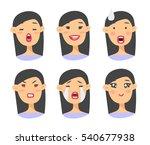 set of asian emoji character.... | Shutterstock .eps vector #540677938