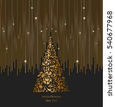 gold christmas tree with ornate ... | Shutterstock .eps vector #540677968