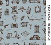 seamless pattern. italian... | Shutterstock .eps vector #540681469
