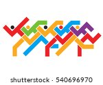 marathon running race. colorful ... | Shutterstock .eps vector #540696970