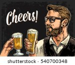 hipster holding glass of beer... | Shutterstock .eps vector #540700348