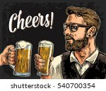 hipster holding glass of beer...   Shutterstock .eps vector #540700354