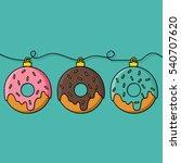 donut decoration for christmas...   Shutterstock .eps vector #540707620