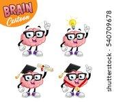 brain cartoon character  set of ... | Shutterstock .eps vector #540709678