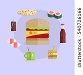 street food concept. hamburger  ... | Shutterstock . vector #540726166