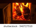 wood stove burning in a private ... | Shutterstock . vector #540727510