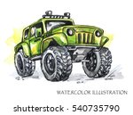 hand drawn card with big car.... | Shutterstock . vector #540735790