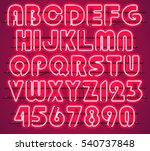 glowing red neon alphabet with... | Shutterstock .eps vector #540737848