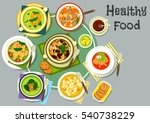 soup dishes for healthy lunch...   Shutterstock .eps vector #540738229