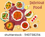baked chicken with vegetables... | Shutterstock .eps vector #540738256