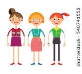 three girls.  | Shutterstock . vector #540741553