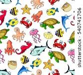 seamless pattern of sea animals.... | Shutterstock .eps vector #540741706
