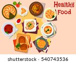 baked meat dishes with dessert...   Shutterstock .eps vector #540743536