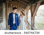the brides walking through the... | Shutterstock . vector #540746734