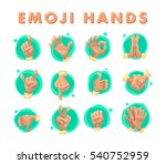 collection of flat hand symbols ... | Shutterstock . vector #540752959